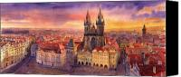 Buildings Canvas Prints - Prague Old Town Square 02 Canvas Print by Yuriy  Shevchuk
