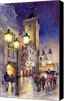 Watercolour Canvas Prints - Prague Old Town Square 3 Canvas Print by Yuriy  Shevchuk