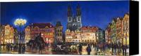 Old Pastels Canvas Prints - Prague Old Town Square Night Light Canvas Print by Yuriy  Shevchuk