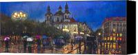 Old Pastels Canvas Prints - Prague Old Town Square St Nikolas Ch Canvas Print by Yuriy  Shevchuk