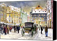 Old Town Canvas Prints - Prague Old Town Square Winter Canvas Print by Yuriy  Shevchuk