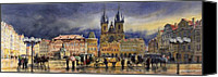Watercolor Landscape Canvas Prints - Prague Old Town Squere After rain Canvas Print by Yuriy  Shevchuk