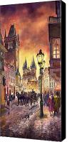 Watercolor Landscape Canvas Prints - Prague Old Town Squere Canvas Print by Yuriy  Shevchuk