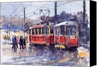 Old Prague Canvas Prints - Prague Old Tram 01 Canvas Print by Yuriy  Shevchuk