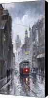Oil On Canvas Canvas Prints - Prague Old Tram 03 Canvas Print by Yuriy  Shevchuk