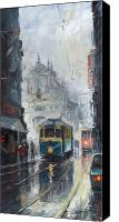 Oil On Canvas Canvas Prints - Prague Old Tram 04 Canvas Print by Yuriy  Shevchuk