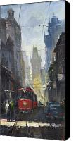 Oil On Canvas Canvas Prints - Prague Old Tram 05 Canvas Print by Yuriy  Shevchuk