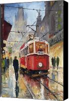 Light Painting Canvas Prints - Prague Old Tram 07 Canvas Print by Yuriy  Shevchuk