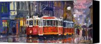 Light Painting Canvas Prints - Prague Old Tram 09 Canvas Print by Yuriy  Shevchuk