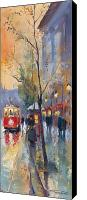 Light Painting Canvas Prints - Prague Old Tram Vaclavske Square Canvas Print by Yuriy  Shevchuk