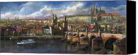 Charles Bridge Pastels Canvas Prints - Prague Panorama Charles Bridge Prague Castle Canvas Print by Yuriy  Shevchuk