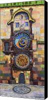 Clock Canvas Prints - Prague The Horologue at OldTownHall Canvas Print by Yuriy  Shevchuk