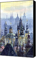 Old Prague Canvas Prints - Prague Towers Canvas Print by Yuriy  Shevchuk