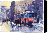 Old Prague Canvas Prints - Prague Tram 02 Canvas Print by Yuriy  Shevchuk