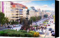 Prague Digital Art Canvas Prints - Prague Wenceslas Square Canvas Print by Evgeny Ivanov