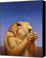 Blue Painting Canvas Prints - Prairie Dog Canvas Print by James W Johnson