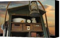Chuck Wagon Canvas Prints - Prairie Kitchen Canvas Print by Robert Anschutz