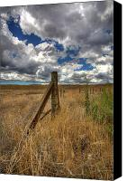 Barbed Wire Fence Canvas Prints - Prarie Sky Canvas Print by Peter Tellone