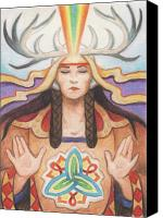 Native Drawings Canvas Prints - Pray For Unity Dream Of Peace Canvas Print by Amy S Turner