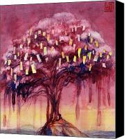 Tibetan Buddhism Painting Canvas Prints - Prayer Tree II Canvas Print by Janet Chui