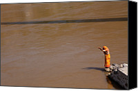 Sari Canvas Prints - Praying On  Banks Of Holy Ganges In Rishike Canvas Print by Claude Renault