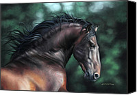 Equine Pastels Canvas Prints - Pre Platero through Christiane Slawiks eyes Canvas Print by Lilian Faria