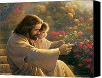 Jesus With Girl Canvas Prints - Precious In His Sight Canvas Print by Greg Olsen