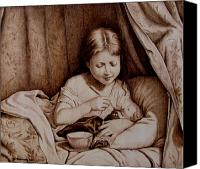 Portrait Pyrography Canvas Prints - Precious Moments-No Border Canvas Print by Jo Schwartz