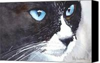 Tuxedo Cat Canvas Prints - Premonition Canvas Print by Ally Benbrook
