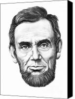 Abe Lincoln Drawings Canvas Prints - President Abe Lincoln Canvas Print by Murphy Elliott