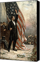Abraham Lincoln Photo Canvas Prints - President Abraham Lincoln - American Flag Canvas Print by International  Images