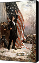 Great Painting Canvas Prints - President Abraham Lincoln Giving A Speech Canvas Print by War Is Hell Store
