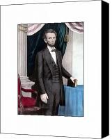 Civil War Painting Canvas Prints - President Abraham Lincoln In Color Canvas Print by War Is Hell Store