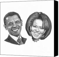First Drawings Canvas Prints - President and First Lady Obama Canvas Print by Murphy Elliott