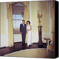 First Ladies Canvas Prints - President And Jacqueline Kennedy Canvas Print by Everett