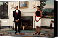 Michelle Obama Photo Canvas Prints - President And Michelle Before The Start Canvas Print by Everett