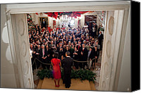 Barack Obama Portraits Canvas Prints - President And Michelle Obama Address Canvas Print by Everett