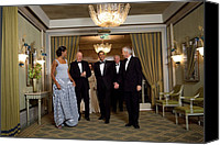 Barack Obama Portraits Canvas Prints - President And Michelle Obama Arrive Canvas Print by Everett