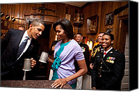 Obama Photo Canvas Prints - President And Michelle Obama Attend Canvas Print by Everett