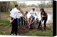 Michelle-obama Canvas Prints - President And Michelle Obama Help Plant Canvas Print by Everett