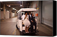 Michelle Obama Photo Canvas Prints - President And Michelle Obama Ride Canvas Print by Everett