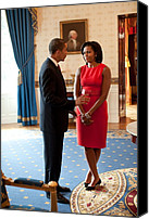 First Ladies Canvas Prints - President And Michelle Obama Talk Canvas Print by Everett