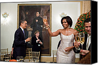 Bswh052011 Canvas Prints - President And Michelle Obama Toast Canvas Print by Everett