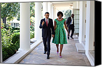 Barack Obama Portraits Canvas Prints - President And Michelle Obama Walk Canvas Print by Everett