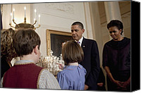 First Ladies Canvas Prints - President And Michelle Obama Watch Canvas Print by Everett
