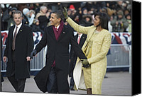 Bswh052011 Canvas Prints - President And Michelle Obama Wave Canvas Print by Everett