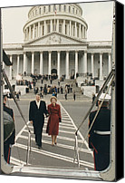 First Ladies Canvas Prints - President And Nancy Reagan Boarding Canvas Print by Everett