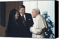 Diplomacy Canvas Prints - President And Nancy Reagan Meeting Canvas Print by Everett