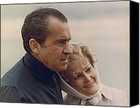 Clemente Canvas Prints - President And Pat Nixon In An Canvas Print by Everett
