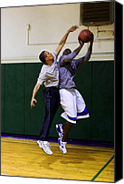 T-shirt Photo Canvas Prints - President Barack Obama Blocks A Shot Canvas Print by Everett